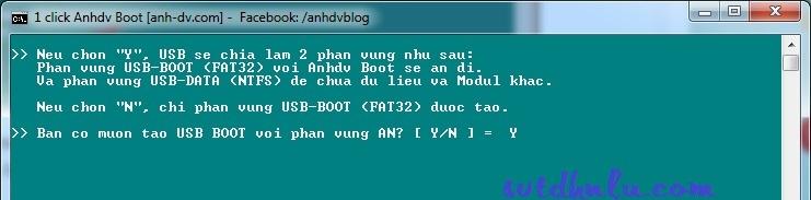 tao phan vung ao cho usb boot da nang 1 click