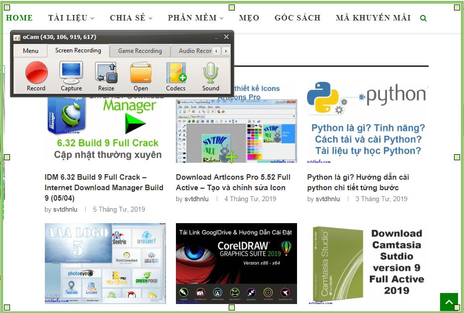 Giao diện phần mềm chụp ảnh màn hình oCam 470.0