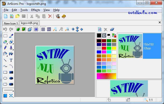 Giao diện phần mềm ứng dụng thiết kế Icon ArtIcons Pro 5.52