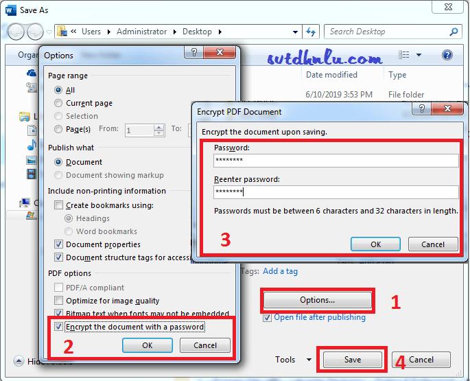Thiết lập đặt mật khẩu mở file PDF trên Word