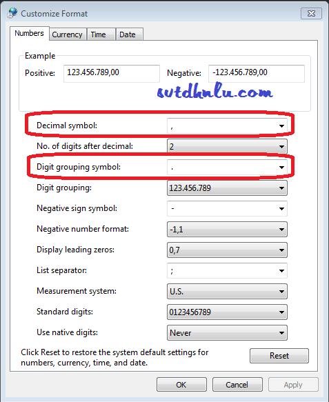 Xem định dạng kiểu chữ số trong hệ thống windows