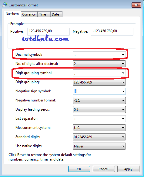 Sửa định dạng kiểu chữ số trong windows 7