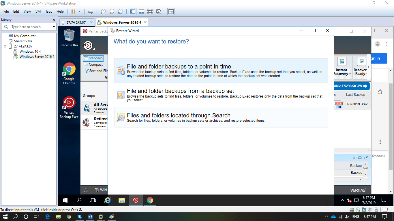 Restore dữ liệu với Veritas Backup Exec