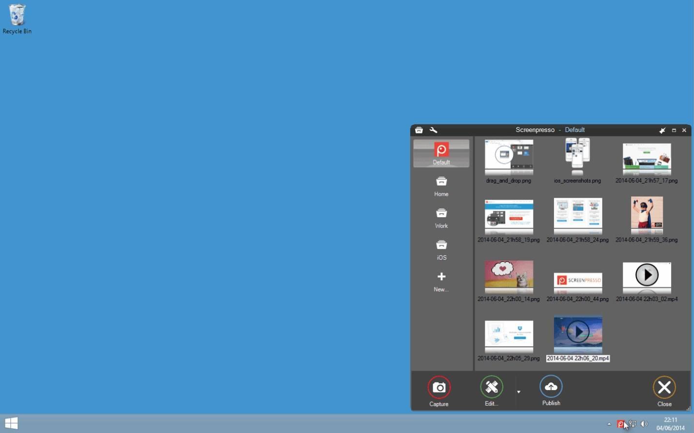 Không gian làm việc trong ScreenPresso