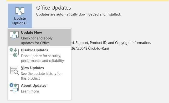 Cách kiểm tra cài đặt và cập nhật Office thủ công