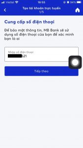 Đăng ký tài khoản MB Bank trực tuyến với số điện thoại